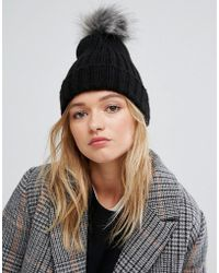Pieces | Pom Beanie In Black | Lyst