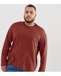 New Look - Plus Long Sleeve Stripe T-shirt In Orange - Lyst
