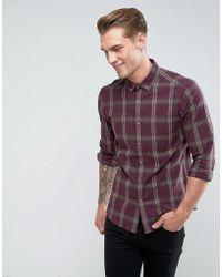 ASOS - Design Stretch Slim Check Shirt In Burgundy - Lyst