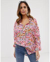 ASOS - Oversized Long Sleeve Shirt In Leopard Animal Print - Lyst
