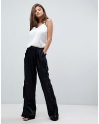 StyleStalker - Avalon Wide Leg Trousers With Floral Print Piping - Lyst