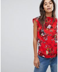Oasis - Scallop Neck Floral Shell Top - Lyst