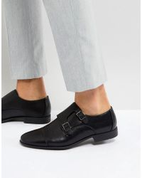 ASOS - Monk Shoes In Black Faux Leather With Emboss Panel - Lyst