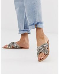 Accessorize - Embellised Cross Over Flat Sandals - Lyst