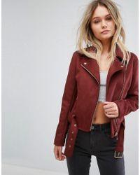 New Look - Faux Suede Biker Jacket - Lyst