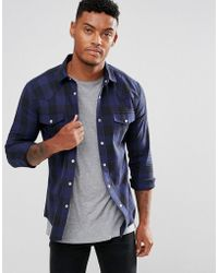 ASOS - Skinny Check With Western Styling In Blue - Lyst
