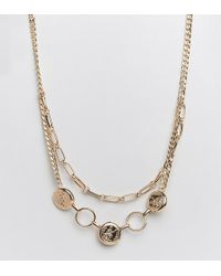 Missguided - Double Layer Chain And Coin Necklace In Gold - Lyst