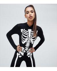 8f6a38faf2 PrettyLittleThing - Halloween Skeleton Unitard In Black - Lyst