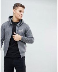 EA7 | Fleece Chest Logo Zip Through Hooded Sweat In Charcoal | Lyst