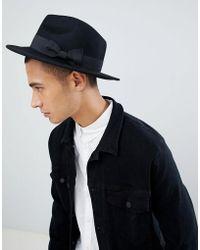 ASOS - Sombrero fedora de fieltro negro de - Lyst