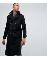ASOS - Tall Shower Resistant Longline Trench Coat With Belt In Black - Lyst