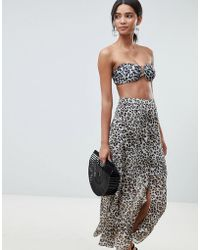 Gestuz - Leopard Print Beach Skirt In 100% Recycled Polyester - Lyst