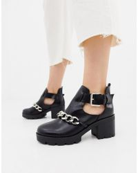 Pieces - Cut Out Chain Ankle Boot - Lyst