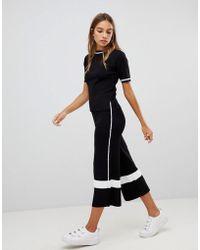 New Look - Side Stripe Knit Culotte Trouser Co-ord - Lyst