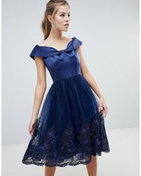 Chi Chi London - Off Shoulder Midi Dress With Bow Front And Premium Lace Detail - Lyst