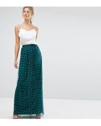 ASOS - Faux Pearl Embellished Tulle Maxi Skirt - Lyst
