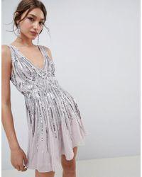 ASOS - Scattered Sequin Mini Skater Dress - Lyst