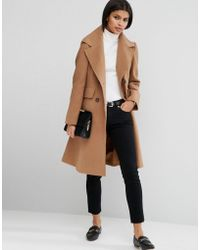 ASOS - Wool Blend Skater Coat With Raw Edges - Lyst