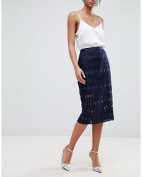 0086a5eb73ffb7 Ted Baker - Lace Grosgrain Pencil Skirt - Lyst