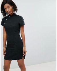 Liquor N Poker - Mandarin Denim Dress With Eyelet - Lyst