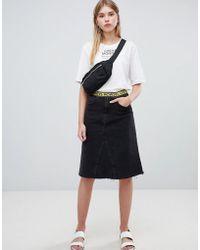 Cheap Monday - Organic Mid Length Denim Skirt With Logo Tape - Lyst
