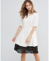 925eca0b83 Traffic People - Trafffic People 3 4 Sleeve Skater Dress With Lace Insert -  Lyst