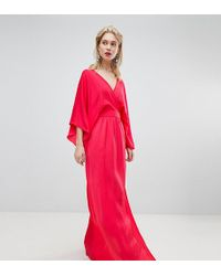 Flounce London - Wrap Front Kimono Maxi Dress With Thigh Split - Lyst