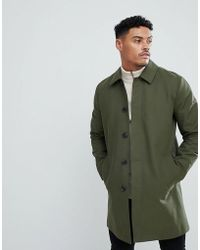 ASOS - Design Shower Resistant Single Breasted Trench In Khaki - Lyst