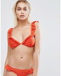 PrettyLittleThing - Frill Plunge Bikini Top - Lyst