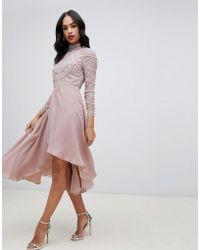 ASOS - Midi Dress With Long Sleeve Embellished Bodice - Lyst