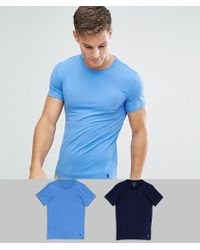 Polo Ralph Lauren - 2 Pack Stretch Slim Fit Cotton T-shirts In Navy/blue - Lyst