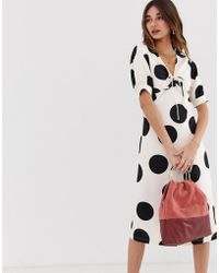 Lost Ink - A Line Midi Dress With Tie Front In Spot Print - Lyst