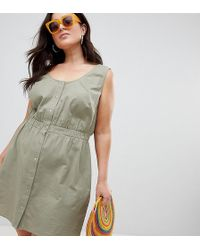 ASOS - Asos Design Curve Casual Popper Mini Dress - Lyst