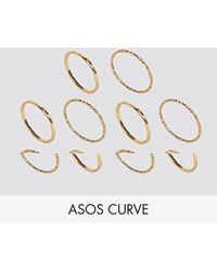 ASOS - Pack Of 10 Mixed Texture Rings - Lyst
