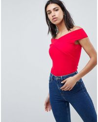 ASOS - Design Top With Wrap Front In Red - Lyst