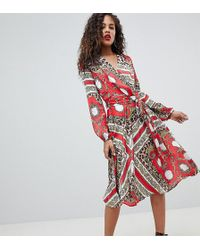 Flounce London - Wrap Front Midi Dress - Lyst