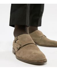 Dune - Wide Fit Monk Shoes In Taupe Suede - Lyst
