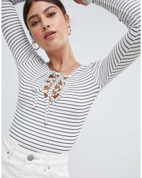 Missguided - Lace Up Stripe Body - Lyst