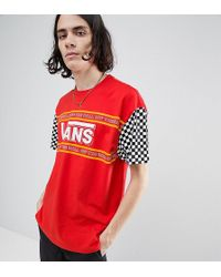 Vans - T-shirt With Checkerboard Sleeve In Red Exclusive To Asos - Lyst
