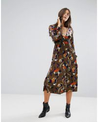 Traffic People - Floral Midi Dress - Lyst