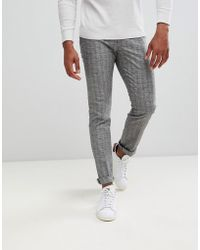 Reiss - Slim Fit Trousers In Grey Windowpane Check - Lyst