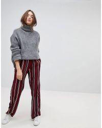 Vila - Striped Wide Leg Trouser - Lyst