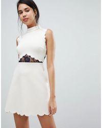 ASOS - Asos Scallop & Lace A Line Mini Dress - Lyst