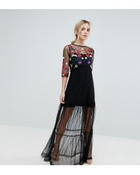 ASOS - Mesh Maxi Dress With Embroidery - Lyst