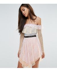 True Decadence - All Over Premium Lace Off Shoulder Tiered Mini Dress With Metal Belt - Lyst