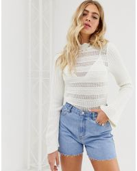 4884dfcc3021f Missguided White Flared Sleeve Cropped Knitted Sweater in White - Lyst