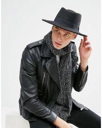 ASOS DESIGN - Pork Pie Hat In Black With Diamond Crown - Lyst