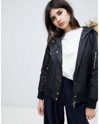 New Look - Faux Fur Hooded Bomber Jacket - Lyst