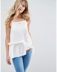 ASOS - Cami In Crepe With Square Neck Asymmetric Ruffles - Lyst