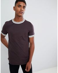 ASOS - T-shirt With Tipped Neck In Brown - Lyst